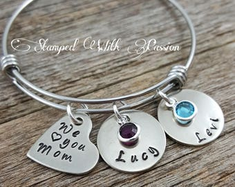 Personalized Bracelet, Mother Charm Bracelet, Family Bracelet, We love you mom, Birthstone bangle bracelet, Kids name bracelet, Christmas