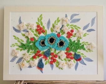Watercolour and Crochet Original Painting - Anemones