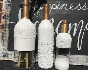 3 piece bottle set | winter white decor | christmas center piece| wine bottles