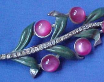 Pink Moon Glow Enamel Floral Pin; Vintage Rhinestones Pot Metal Lucite Plastic