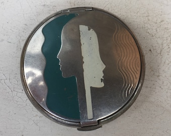 SALE! Vintage Deco Deauville Richard Hudnut Teal & Cream on Silver Compact