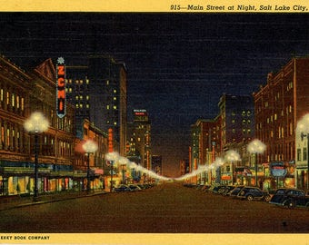 Salt Lake City Main Street Night  Utah Vintage Postcard 1953