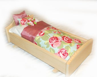 Rock Her to Sleep!  Single Doll Bed - Tumbled Roses American Made Girl Doll Bed - Fits AG Doll and 18 inch doll BittyBaby 18' Doll Furniture