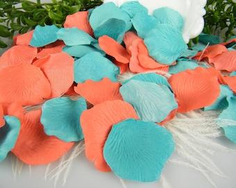 Coral and Ocean Pool Blue Rose Petals Tropical Blend   200 Silk Artificial Petals   Beach Wedding   Wedding Flower Petals - Table Scatter