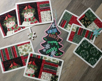 Set of 2 or 4 Quilted Holiday Mug Rugs / Winter Snowman Joy and Cheer Home Décor Coasters / Garland Cardinals and Swirls Christmas Accents