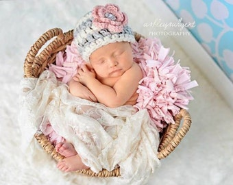 Newborn girl hat, baby girl coming home outfit, baby girl clothes, newborn photo prop, infant girl hat