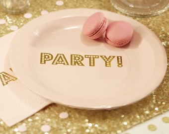 "Gold Foiled Paper Plates ""Party"" (Set of 8)"