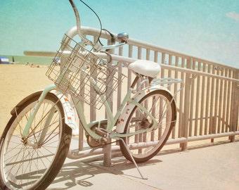 Retro Bike Photograph, Beach Bicycle, Mint Green Bike On Beach Boardwalk, Mint Aqua Cream Print 8x10