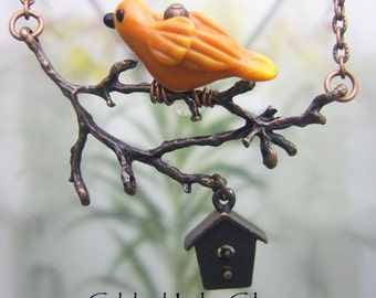Bird on a Branch with Acorn/birdhouse Pendant, Torchwork Glass Jewelry Handcrafted in North Carolina