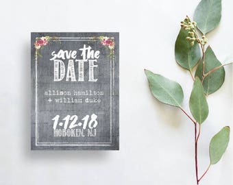 Printable wedding card rustic Save the Dates Card rustic printable wedding save the dates floral wedding card save our date digital download
