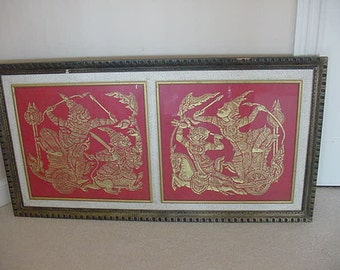 gold themed  warriors on a chariot framed ready to hang