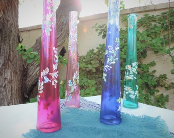 Hand-Painted Tall Glass Vases