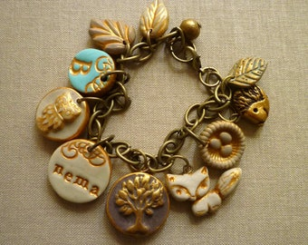 Forest Animals Charms Bracelet, Custom nana and mama Bracelet, Personalized for Mom, fox, owl, hedgehog, tree, leaves, and letter, Woodland