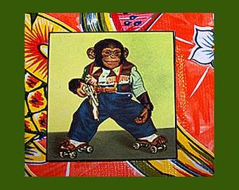 retro monkey coasters vintage chimp 1950s cartoon animal tiki bar decor kitsch