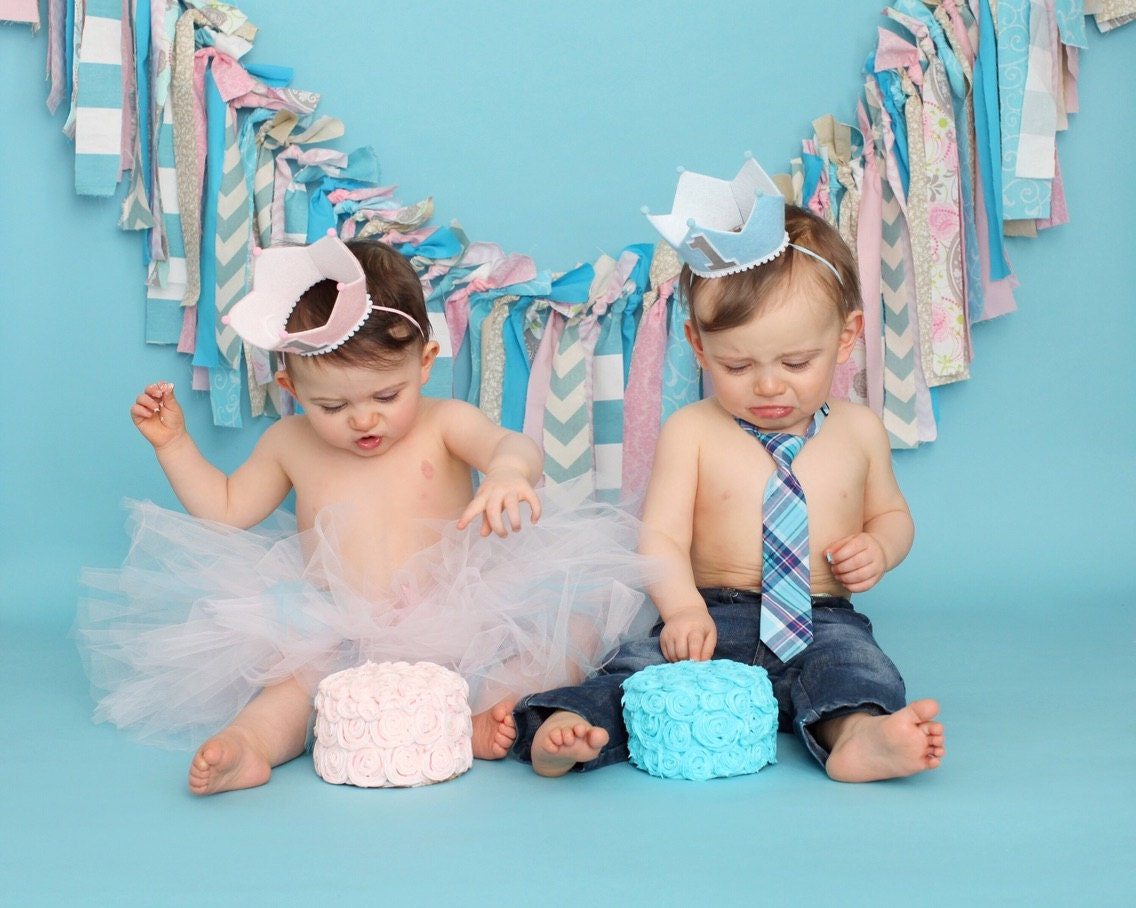 Boy and Girl Twins First Birthday Crown 1st Birthday Pink