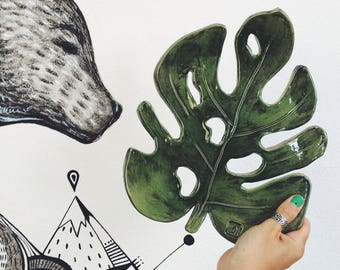 Ceramic Plate Monstera, handmade pottery rustic style (make after order)