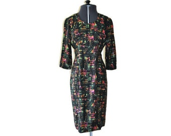 "1960's Vibrant Day Dress // Bright Vintage Casual Dress // Waist 26"""