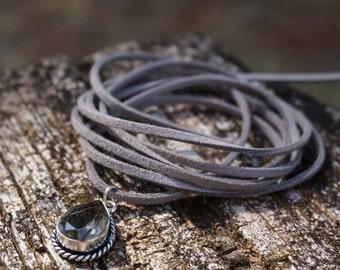 "Boho Jewelry ""Shades of Grey"", Bohemian Gypsy Hippie Rustic Beach Gray Leather Choker Necklace Smoky Quartz Pendant, Wrap Bracelet Gift"