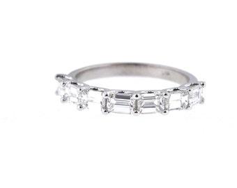 14K White Gold Emerald Cut Diamond 1.40 Carat Anniversary Band Engagement Band Wedding Band Stackable Band Wedding Ring Rose Gold White Gold