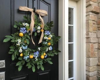 Summer Door Wreaths, White Daisy Wreath, Outdoor Lemon Wreaths, Summer Porch Wreath, Summer Farmhouse Wreath, Twoinspireyou Wreaths
