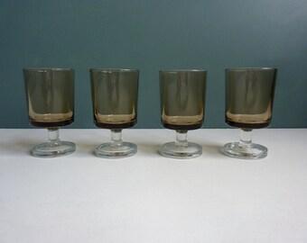4 vintage French Luminarc smoky aperitif glasses