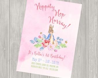 Girl Birthday Invitation, Peter Rabbit Birthday Invitation, Peter Rabbit Birthday Party, Birthday Party Package, First birthday