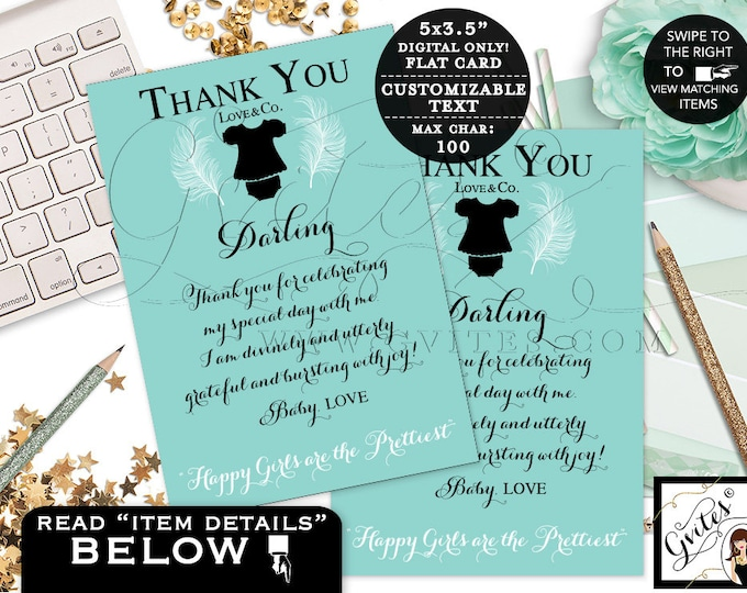 """Baby and Co thank you cards, baby shower thank you printable note cards, greeting cards, turquoise blue baby girl. {3.5x5"""" 4 Per/Sheet}"""