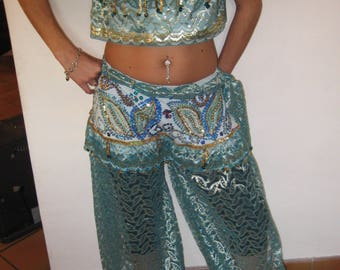 Outfit for belly dance veil turqoise