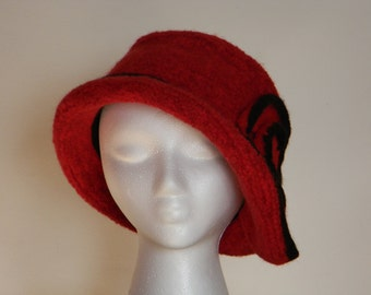 Felted women's wool hand-knit hat--bright red with black trim ending in swirl--1930s style hat