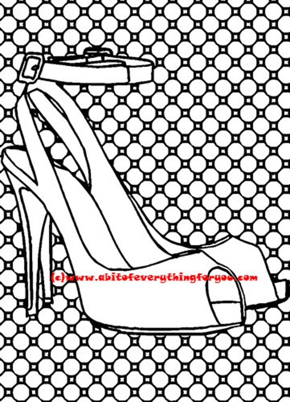 high heel shoes polka dot pattern art coloring page printable art download digital colouring pages fashion image graphics