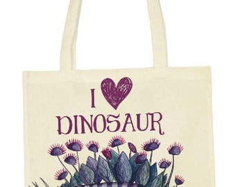 "Organic cotton bag ecru printed illustration ""I love dinosaur"" tote bag"
