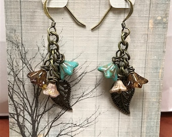 Southern Tea Party Dangle Earring made with Czech Glass Beads, Antique Gold Leaf Charms and Antique Gold Findings.