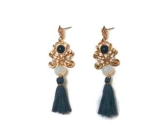 Long Vintage Earrings - Long Gold Earrings - Vintage Gold Earrings - Long Tassel Earrings - Gold Tassel Earrings - Long Golden Earrings