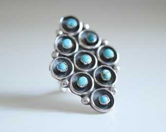 Vintage collection. Sterling silver ring with natural turquoises. Zuni style, navajo ring, turquoise ring, vintade ring, zuni silver ring.