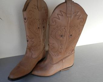 Vintage Ladies Cowboy Boots Genuine Leather / Vintage 1980's Cowboy Boots / Ladies Vintage Cowgirl Boots / Vintage Western Boots
