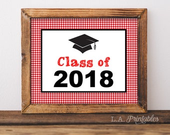Class of 2018 Printable Sign, Red BBQ Graduation Party Sign, Barbecue Grad Party, 8x10 & 16x20 inch, INSTANT PRINTABLE