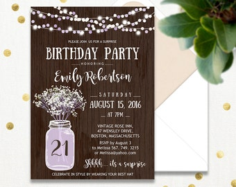 16th surprise birthday invitations printable sweet sixteen 21th birthday party invitations printable lavender adult surprise birthday invite rustic mason jar babys breath instant filmwisefo Images