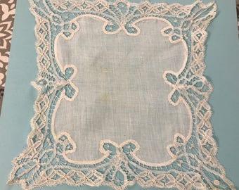 Antique Wedding Handkerchief, Battenberg Lace Handkerchief,  Linen Handkerchief, Handmade Lace