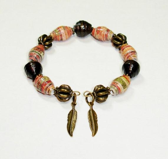 Paper Bead Bracelet Handmade Memory Wire Jewelry Antique Rose