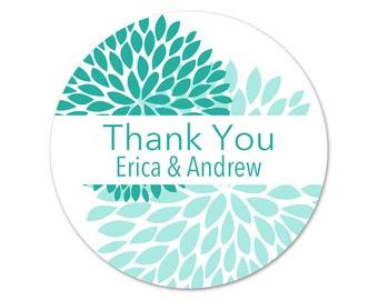 Personalized Thank You Stickers - Mums - Wedding Favor Labels - Flowers Wedding Stickers - Favor Label - Thank you Stickers - Summer Wedding