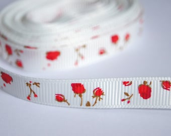 0.80 M Ribbon grosgrain Ribbon 10mm - red ROSES, NATURE
