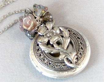 Lavender Fields,Rustic Necklace,Lavender,Amethyst Necklace,Amethyst Locket,Rustic Wedding,Purple Necklace,Emerald Necklace,Leaf,Flower