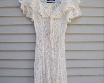 80s All That Jazz Sheer Lace Mesh Ruffle Dress / Lace Midi Dress / Summer Fashion / Size Extra Small