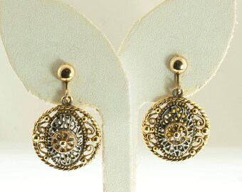 Two Tone Filigree Ear Clips