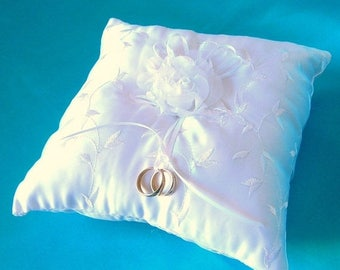 On Sale Embroidered White Satin Ring Bearer Pillow