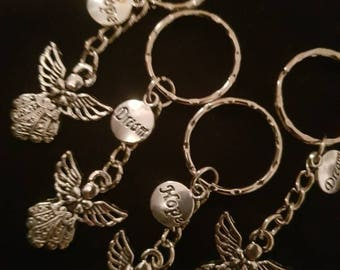 Guardian Angel hope and dreams silver key rings. Memorial, anniversary, luck, love and friendship gifts.
