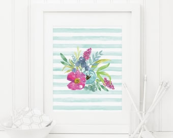 Floral Printable Floral Nursery Decor Flower Print Pink and Teal Nursery Wall Art Shabby Girl Nursery Decor Watercolor Flowers Stripes Blue