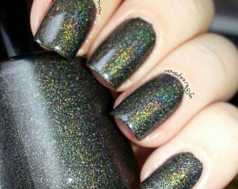 Black Double Holo Nail Polish -  Large bottle - Holographic - Handmade