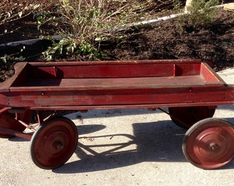 Wooden Wagon Child's Coaster Antique Wooden Wagon Steel Wheels and Rubber Tires Steel Undercarriage Structure