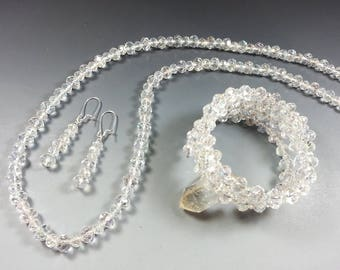 ON SALE...10 Colors.... Crystal Necklace and Bracelet Set with FREE Matching Earrings